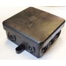 Puszka elektryczna zatrzaskowa natynkowa czarna 80x80x40mm