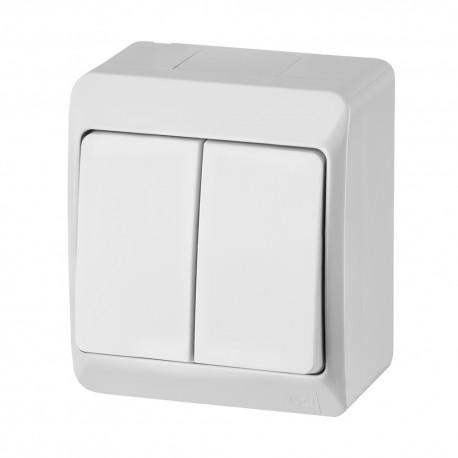Łącznik natynkowy świecznikowy podwójny HERMES biały IP44